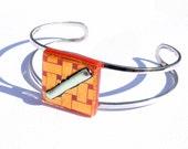Orange Glass Bracelet, Dichroic Bracelet, Fused Glass Jewelry, Cuff Bangle Bracelet, Retro (Item 20058-B)