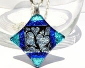 Silver Hearts, Dichroic Pendant, Fused Glass Jewelry, Silver, Teal, Cobalt Blue, Modern (Item 10196-P)