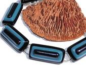 Men's Bracelet, Smoky Blue, Fused Glass Jewelry, Gift for Him, Black, Blue, Deep Purple, Stylish (Item 20083-B)