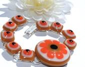Woodland Bracelet, Fused Glass Jewelry, Flower, Daisy, Orange, Brown, Boho (Item 20009-B)
