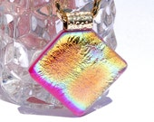 Far Out Tie-Dye, Fused Glass Jewelry, Groovy, Dichroic Pendant, Neon, Orange, Gold, Colorful, Vibrant (Item 10069-P)