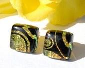 Small Dichroic Studs,Square Earrings, Dichroic Glass Earrings, Fused Glass Jewelry, Small Square, Retro, Mod, Golden Orange (Item 30268-E)