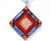 Spicy, Fused Glass Jewelry, Dichroic Pendant, Fiesta, Mosaic, Salsa, Tribal, Red Orange (Item 10131-P)