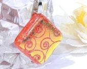 Dichroic Fused Glass Pendant, Fused Glass Jewelry, Swirls, Orange, Mini  -- Curly Q (Item 10164-P)