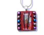 Abstract Mosaic, Fused Glass Pendant, Dichroic Glass, Red, Square (Item 10313-P)