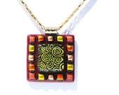 Mosaic Pendant, Dichroic Pendant, Fused Glass Jewelry, Swirls, Gold, Orange, Deep Red (Item 10292-P)