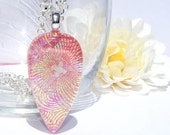 Pastels & Patterns, Fused Glass Jewelry, Dichroic Pendant, Dichroic Fused Glass, Large, Pink (Item 10326-P)