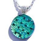 Round Glass Pendant, Dichroic Pendant, Fused Glass Jewelry, Circle, Basketweave, Aqua, Gold (Item 10440-P)