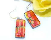 Sunset, Fire, Lava, Dichroic Earrings, Fused Glass Jewelry, Rectangle, Sterling Silver Hooks, Bright, Orange, Tangerine, Gold (Item 30301-E)