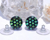 """Small Dichroic Stud Earrings, Fused Glass Jewelry, Posts, Round, Polka Dots, Circle, Mod, Retro, Black Green Gold, 7/16"""" 11mm (Item 30371-E)"""