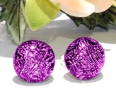 """Small Dichroic Studs, Fused Glass Jewelry, Dichroic Glass, Posts, Round, Violet, Purple, Amethyst 3/8"""" 9mm (Item 30393-E)"""