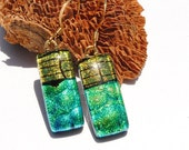 Dichroic Earrings, Fused Glass Jewelry, Rectangle, High Fashion, Gold Blue Green, Contemporary (Item 30388-E)