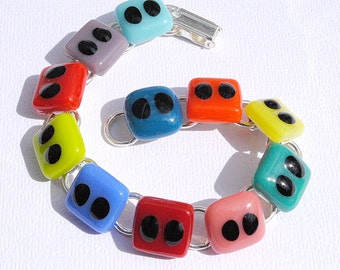 Rainbow Bracelet, Fused Glass Link Bracelet, Fused Glass Jewelry, Colorful Bright Bold Vivid Vibrant Modern Fun (Item 20067-LB)