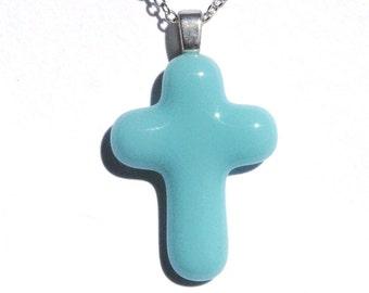 Youth Cross Pendant, Fused Glass Jewelry, Glass Pendant, Jesus Christ, Faith, Hope, Love, Spiritual, Youth, Baby Blue, Pastel (Item 10419-P)