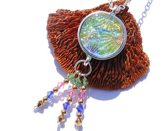 Dichroic Pendant, Swarovski, Gypsy, Bohemian, Fused Glass Jewelry Necklace, Round, Boho, Fireworks, Pastels (Item 10448-P)
