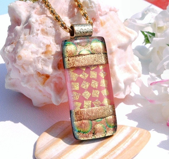 Peach and Pink, Coral, Salmon, Fused Glass Jewelry, Dichroic Pendant, Spring (Item 10301-P)