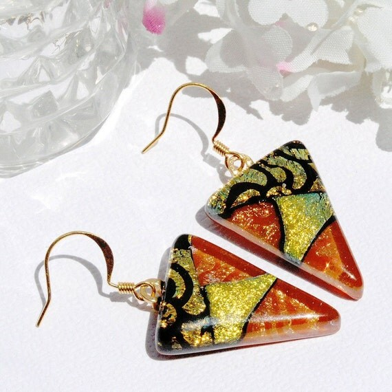 Glass Earrings, Dichroic Fused Glass Jewelry, Fused Glass Jewelry, Autumn, Dangle, Rust, Gold (Item 30091-E)