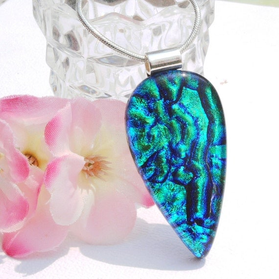 Blue Green, Fused Dichroic Glass Pendant, Fused Glass Jewelry, Dichroic Fused Glass - Jeweled Ripples (Item 10344-P)