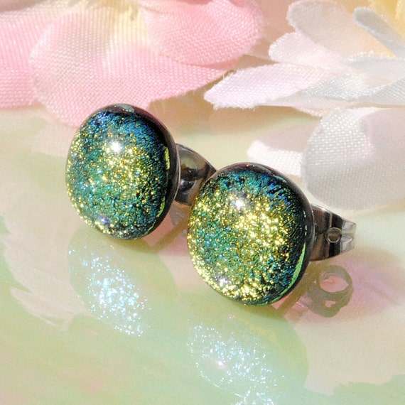 Golden Glow - Mini Fused Dichroic Glass Post Stud Earrings (Item 30122-E)