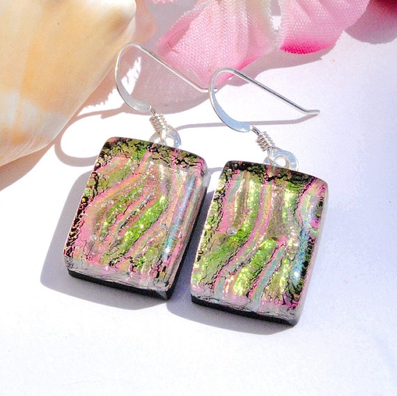 Glass Earrings, Green, Salmon, Fused Glass Jewelry, Dichroic Fused Glass, Dangle, Sterling Silver, Ripples, Spring (Item 30128-E)