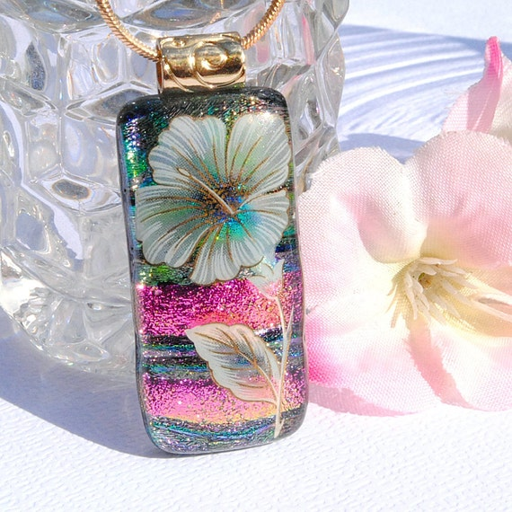 Floral Hibiscus Pendant, Fused Glass Jewelry, Dichroic Pendant, Nature, Garden, Flower, Pink (Item 10400-P)