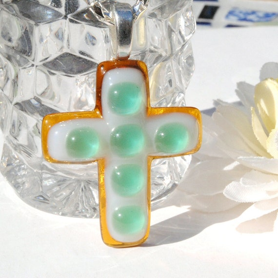 Cross Pendant, Dichroic Fused Glass, Fused Glass Jewelry, Gold, White, Seafoam Green, Jesus, Faith, Christ, Spring, Easter (Item 10406-P)