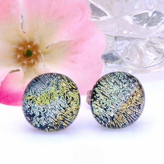 Small Glass Stud Earrings, Fused Glass Jewelry, Dichroic Glass Earrings, Post Earrings, Round, Confetti, Silver, Gold, Green (Item 30275-E)
