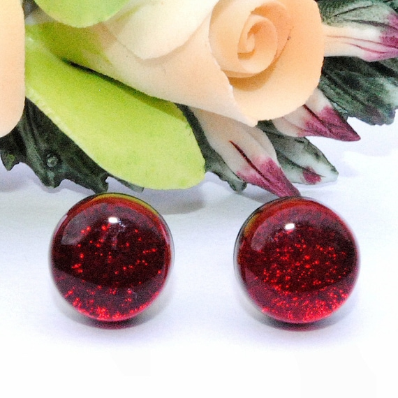 Small Glass Stud Earrings, Fused Glass Jewelry, Dichroic Glass Earrings, Small Post Earrings, Mini Round, Ruby Red, Blood Red (Item 30297-E)