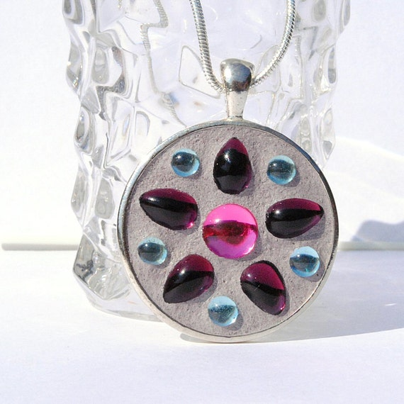 Necklace, Glass Pendant, Vintage Cabochons, Floral Design, Mosaic Pendant, Round, Purple Blue Pink  (Item 10230-P)