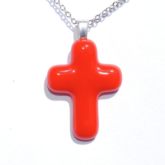 Cross Pendant, Fused Glass Jewelry, Glass Pendant, Jesus Christ, Faith, Hope, Love, Spiritual, Youth, Dark Orange (Item 10425-P)