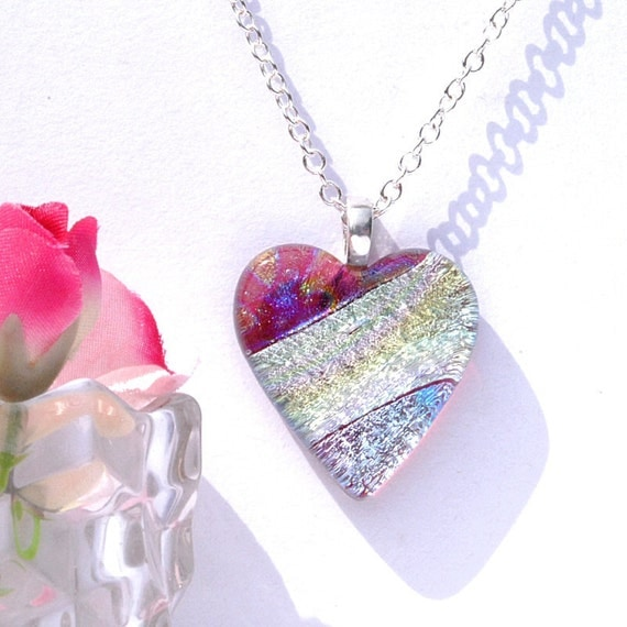 Fused Dichroic Glass Pendant, Fused Glass Jewelry, Dichroic Fused Glass, Heart, Silver, Ice Blue, Love (Item 10218-P)