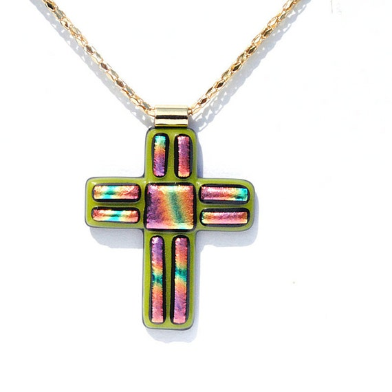 LARGE Cross Pendant, Dichroic Glass Pendant, Fused Glass Jewelry, Jesus, Christ,  Faith, Hope, Green, Mosaic, Spring, Easter (Item 10043-PC)