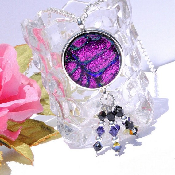Dichroic Glass Pendant, Swarovski & Sterling Silver Beads, Fused Glass Jewelry Necklace, Boho, Rich Purple, Grape, Eggplant (Item 10436-P)