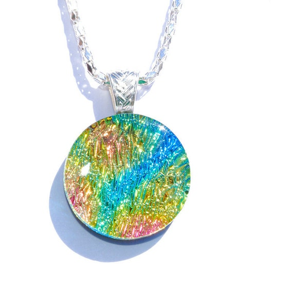 Tie-Dye, Groovy, Hippie, Dichroic Pendant, Fused Glass Jewelry, Round, Circle, Colorful, Rainbow, Blue, Green, Gold, Orange (Item 10438-P)