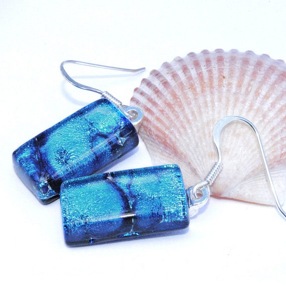 Dichroic Earrings, Ocean, Water, Sea, Fused Glass Jewelry, Rectangle, Sterling Silver Hooks, Marbled Blue, Aquatic (Item 30306-E)