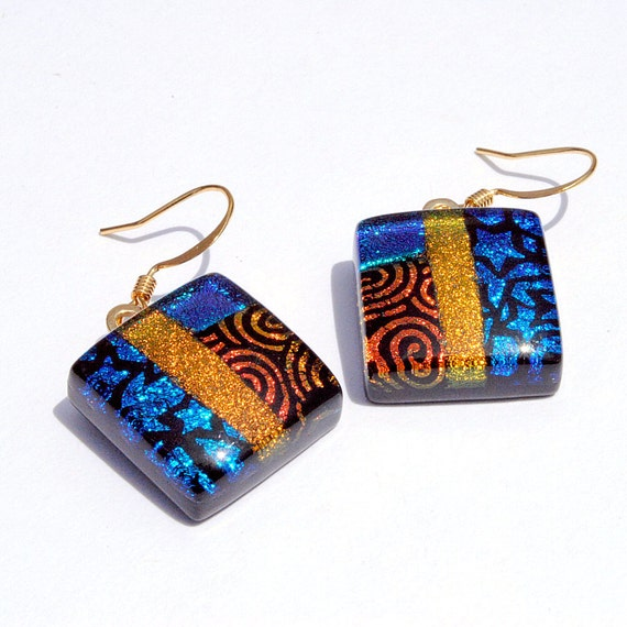 Dichroic Earrings, Fused Glass Jewelry, Square, 22K Gold Plated Hooks, Retro, Stars Swirls, Orange, Amber, Cobalt Blue (Item 30312-E)
