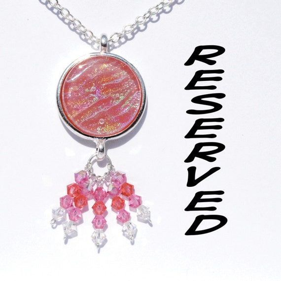 RESERVED Custom Order - Boho Dichroic Tray Pendant, Swarovski Beads, Fused Glass Jewelry Necklace Pink
