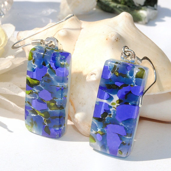Fused Glass Earrings, Frit, Fused Glass Jewelry, Rectangle, Sterling Silver, Beach, Ocean (Item 30335-E)