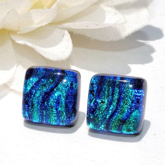 "Small Dichroic Stud Earrings, Fused Glass Jewelry, Posts, Square, Ocean, Lagoon, Sea, Blue Aqua Green 3/8"" 10mm (Item 30352-E)"