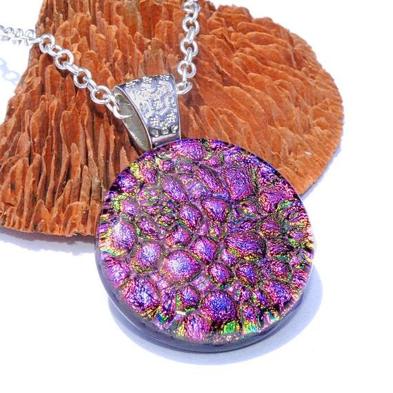 "Dichroic Pendant, Round Glass Pendant, Fused Glass Jewelry, Circle, Colorful, Pebbles, Cobblestone, Magenta, Purple 1"", 25mm (Item 10451-P)"