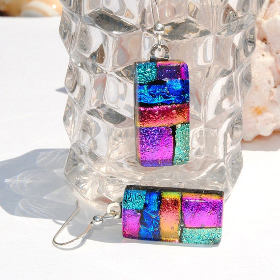 Dichroic Earrings, Fused Glass Jewelry, Rectangle, High Fashion, Colorful, Bright, Bold, Abstract, Mosaic (Item 30383-E)