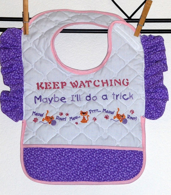 KEEP WATCHING, Bib with Attitude for Toddler Girl