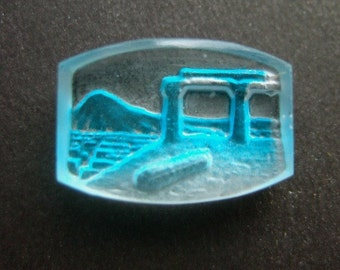 BWB Unique Vintage Glass Antique View of Classical Ruins Pompeii Herculaneum  Reverse carved and painted Must C!  20mm