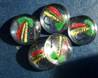 BWB Nautical Fun //  Vintage Hand Painted reverse carved Intaglio Fishing Lure Cab 15mm (1 pc)