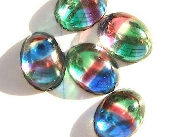 RESTOCKED  BWB (30) Teeny and Precious Vintage West Germany Art Glass Cabs  8x6mm- Like little Rainbows
