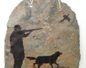Pheasant Hunter Hunting with Dog Drawn on Stone Wall Hanging- Free Shipping Etsy