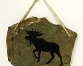 Moose Drawn on Stone Wall Hanging - Free Shipping Etsy