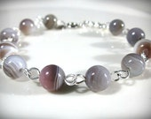 Botswana Agate and Rolled  Sterling Silver Bracelet