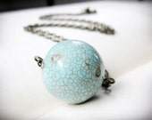 Blue Moon Necklace, in turquoise magnesite and antiqued brass, simple and understated, minimalist