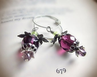 Purple and Green Earrings, Fantastical Flowers in Faceted Czech Glass and Antiqued Silver, Delicate Hoops, Purple Snitch